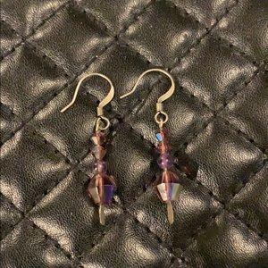 Swarovski Amethyst Crystal Bead Silver Earring
